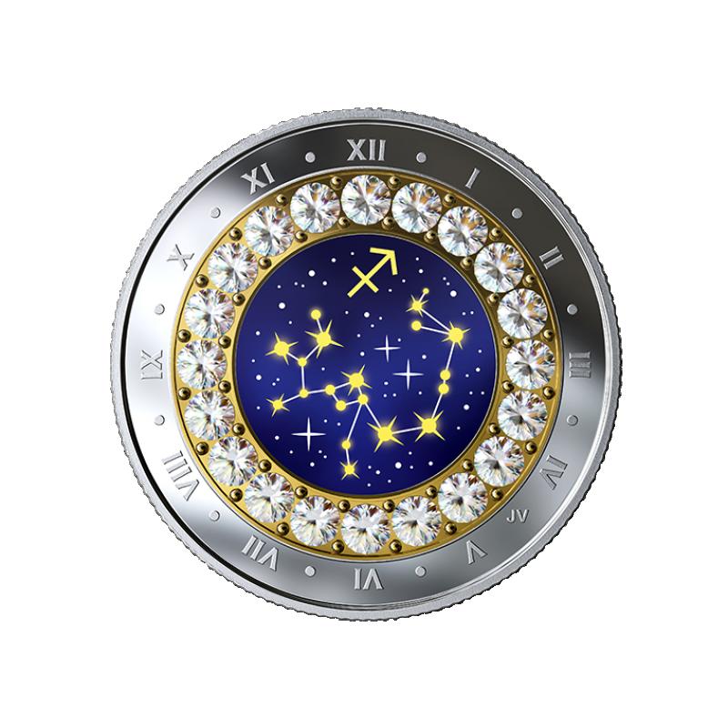 Sodiaagimärgid - Ambur  Kanada 5$ 2019.a 99,99% hõbemünt Swarovski® kristallidega 7.96 g
