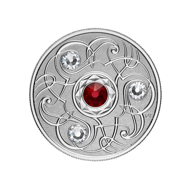 Счастливый камень на январские дни рождения Канада 5$ 2020 г. 99,99% серебряная монета с кристаллами Swarovski® 7.96 гp.