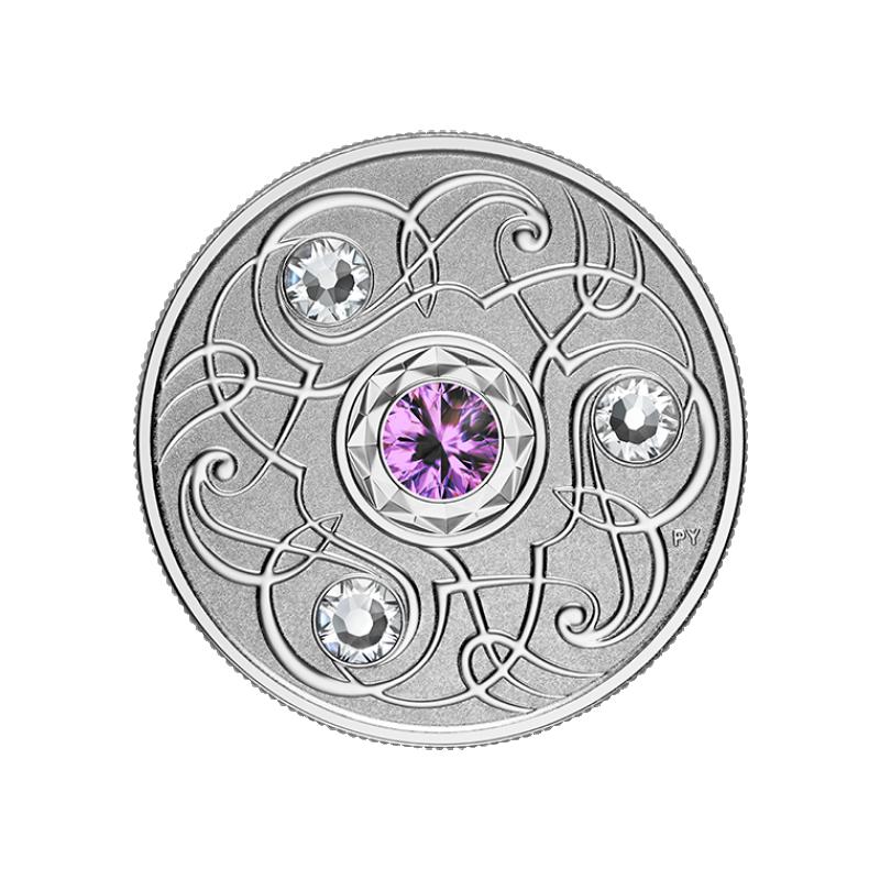 Счастливый камень на февральские дни рождения Канада 5$ 2020 г. 99,99% серебряная монета с кристаллами Swarovski® 7.96 гp.