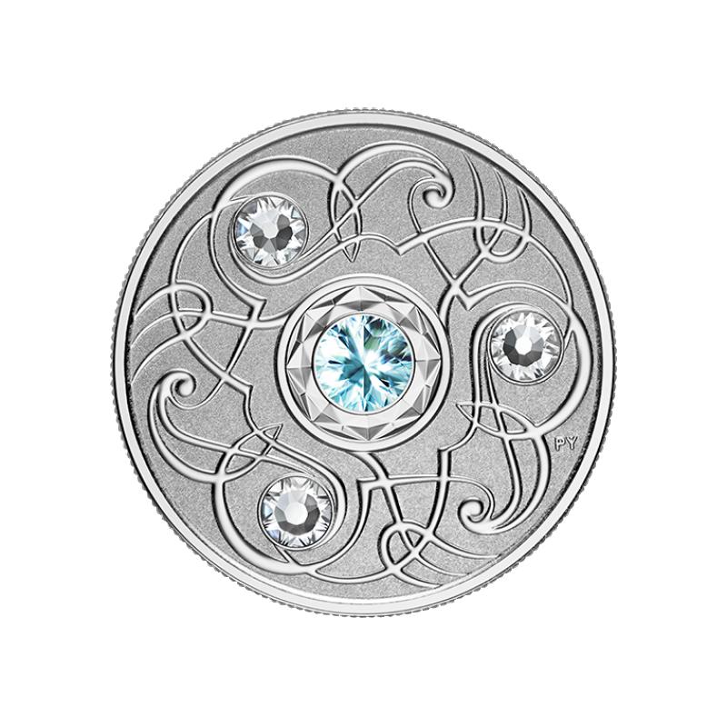 Счастливый камень на мартовские дни рождения. Канада 5$ 2020 г. 99,99% серебряная монета с кристаллами Swarovski® 7, 96 гp.