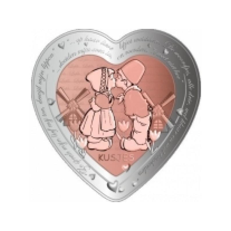"""""""Armastuse tähtpäev - Suudlus"""" - Niue 1$ 2020.a bi-metallist 99,9% hõbemünt vasest südamekujulise elemendiga, 37.4 g"""