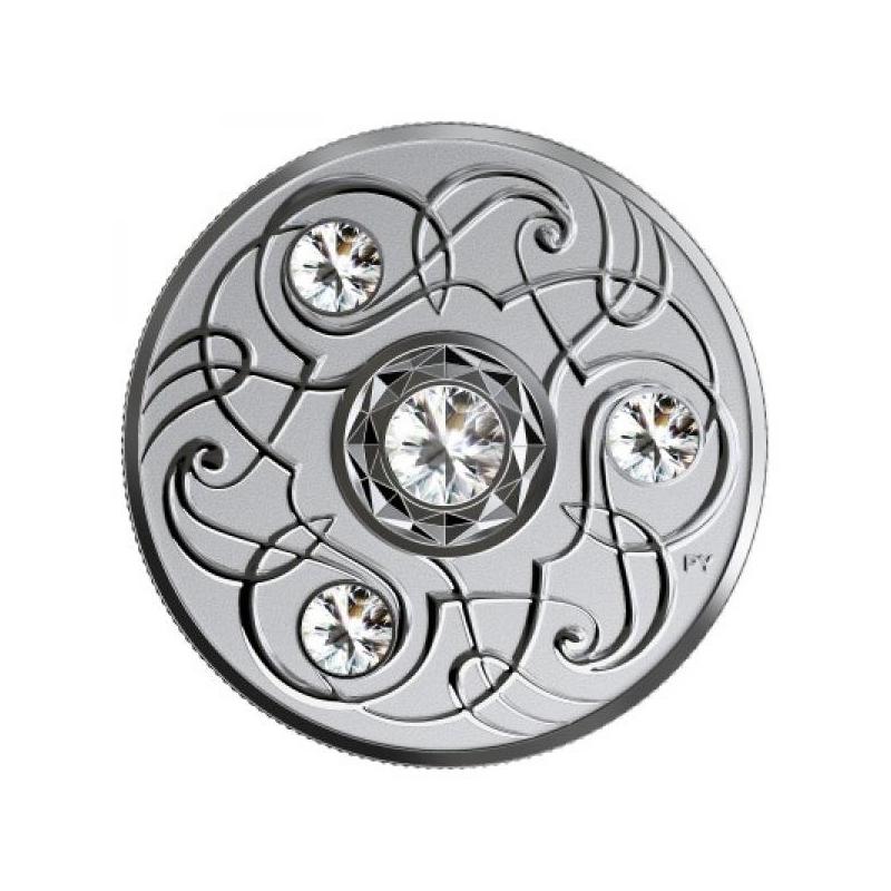 Счастливый камень на апрельские дни рождения. Канада 5$ 2020 г. 99,99% серебряная монета с кристаллами Swarovski® 7.96 гp.
