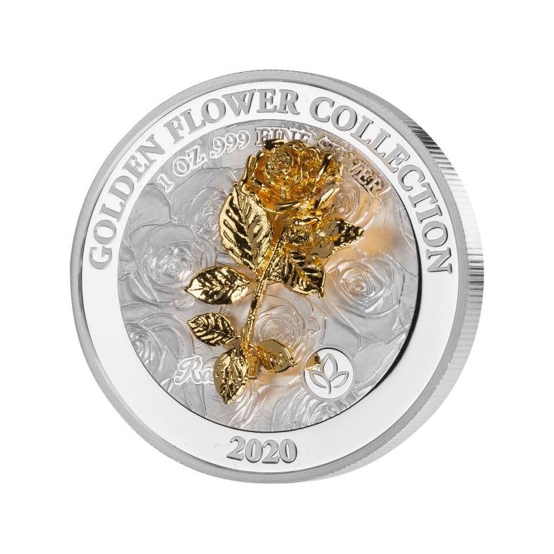 Золотые 3D цветы - Роза. Самоа 5$ 2020. г. 99,99% серебряная монета, 1 унция