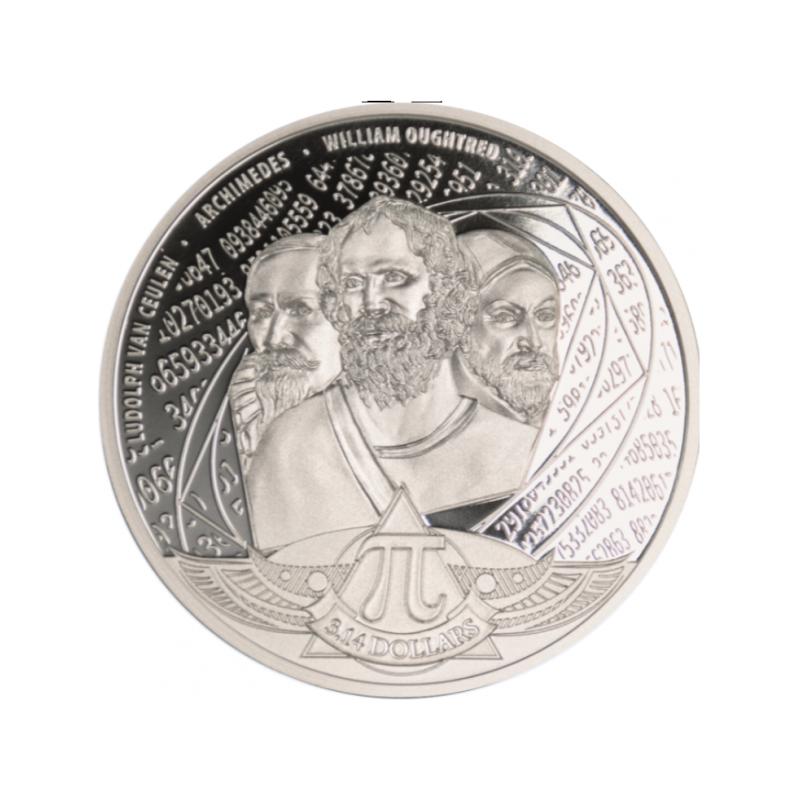 Число π (Пи) -  Соломоновы Острова 3,14 $ 2020 г. 99,9% серебряная монета 31.1 г.