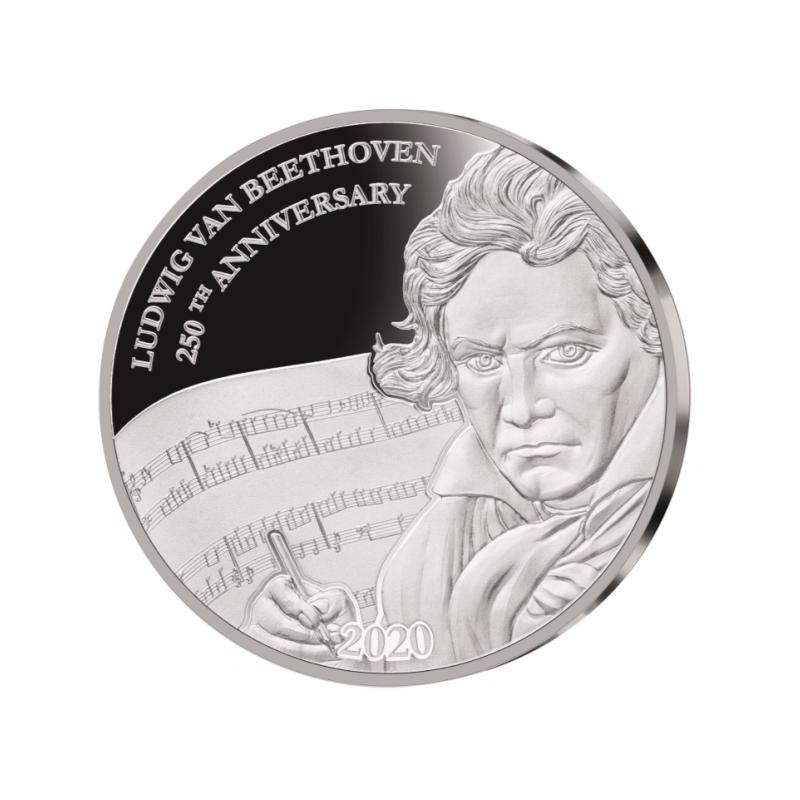Ludwig van Beethoveni 250. sünniaastapäev - Fiji 1 $ 2020.a  1 untsine  99,9% hõbemünt