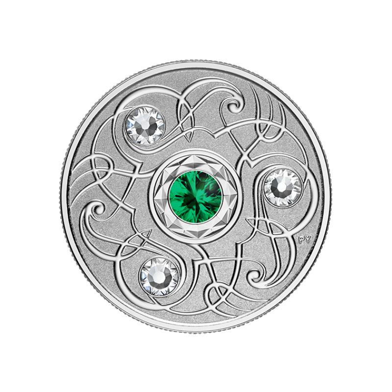 Счастливый камень на майские дни рождения. Канада 5$ 2020 г. 99,99% серебряная монета с кристаллами Swarovski® 7, 96 г.