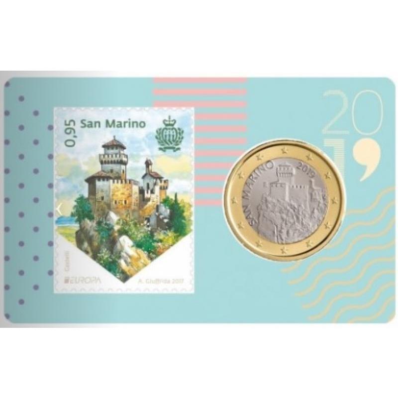 San Marino 1€ ja postmark mündikaardil 2019.a.