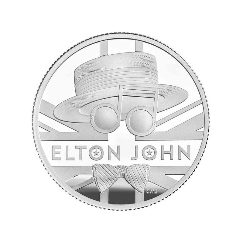 «Легенды музыки» - Элтон Джон, Великобритания 1 £ 2020 г 99,9% серебрянная монета 15.710 г.