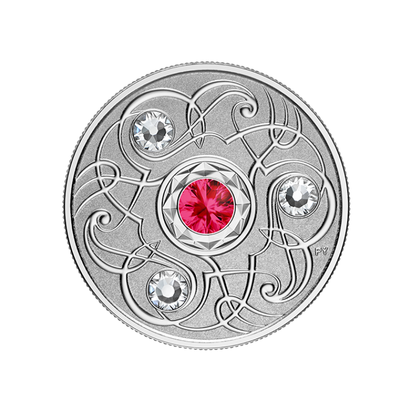 Счастливый камень на июльские дни рождения. Канада 5$ 2020 г. 99,99% серебряная монета с кристаллами Swarovski® 7, 96 г.
