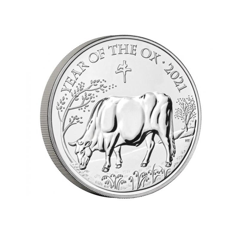 Год Быка 2021-  Великобритания 5 £ 2021 года. Mедно-никилиевая монета.