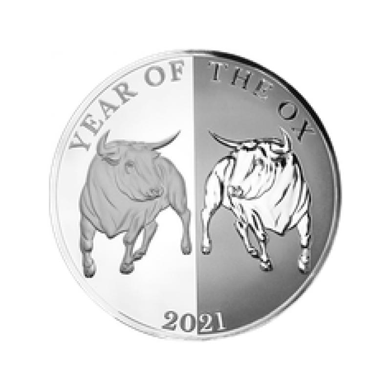 """""""Год Быка"""" - 2021. Токелау, 5$, 99.9% серебряная монета с зеркальным  изображением.  31.1 г."""