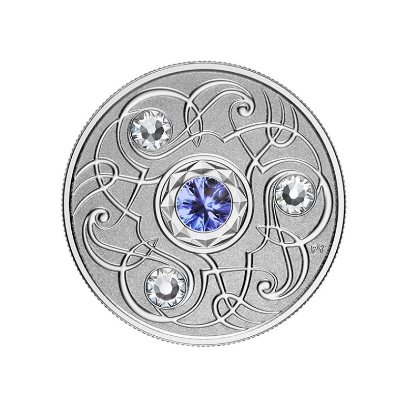 Счастливый камень на сентябрские дни рождения. Канада 5$ 2020 г. 99,99% серебряная монета с кристаллами Swarovski® 7, 96 г.