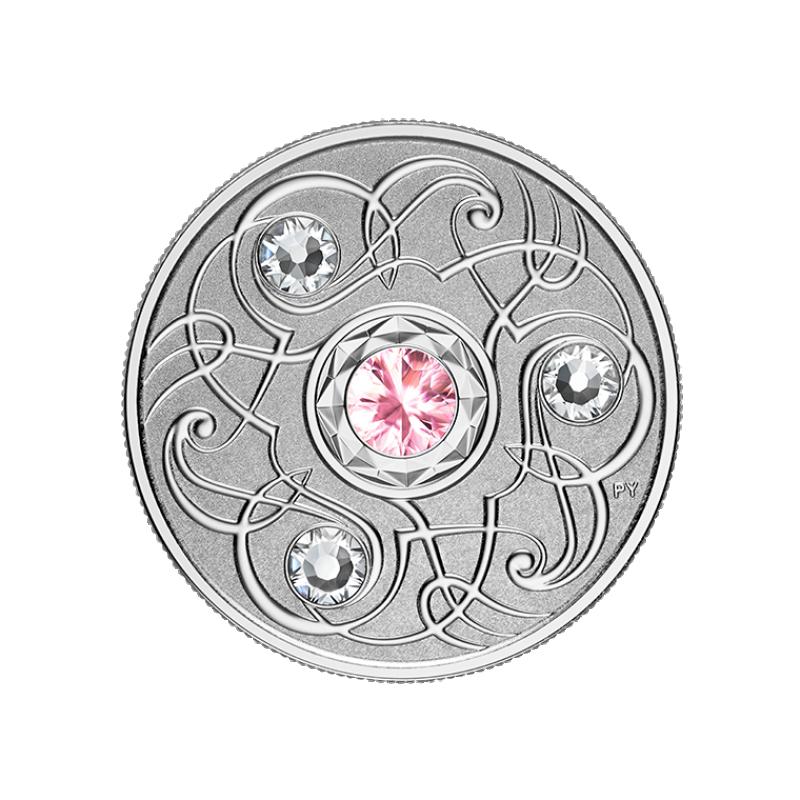Счастливый камень на октябрские дни рождения. Канада 5$ 2020 г. 99,99% серебряная монета с кристаллами Swarovski® 7, 96 г.