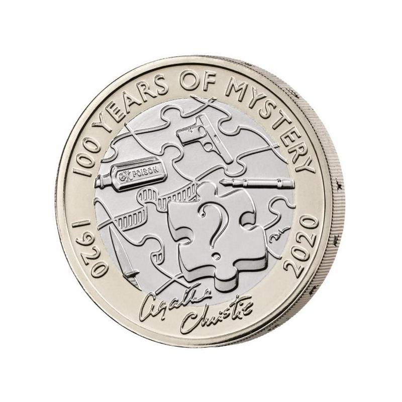 Агата Кристи. 100 лет мистерии. Великобритания 2£  2020 г. Mедно-никилиевая монета.