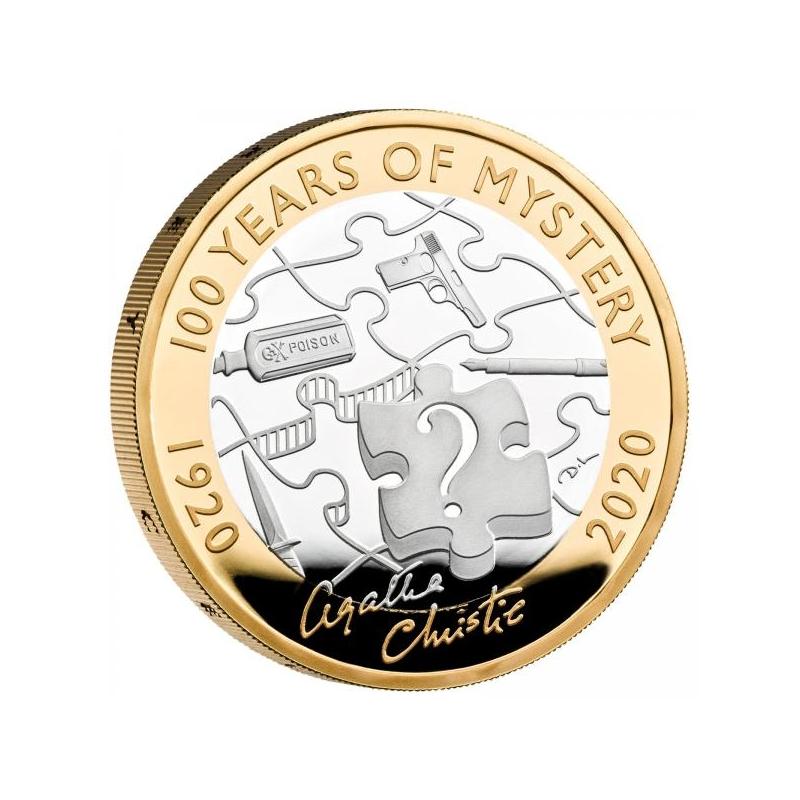 Агата Кристи. 100 лет мистерии. Великобритания 2£  2020 г. 92,5% серебрянная монета. 12 г.