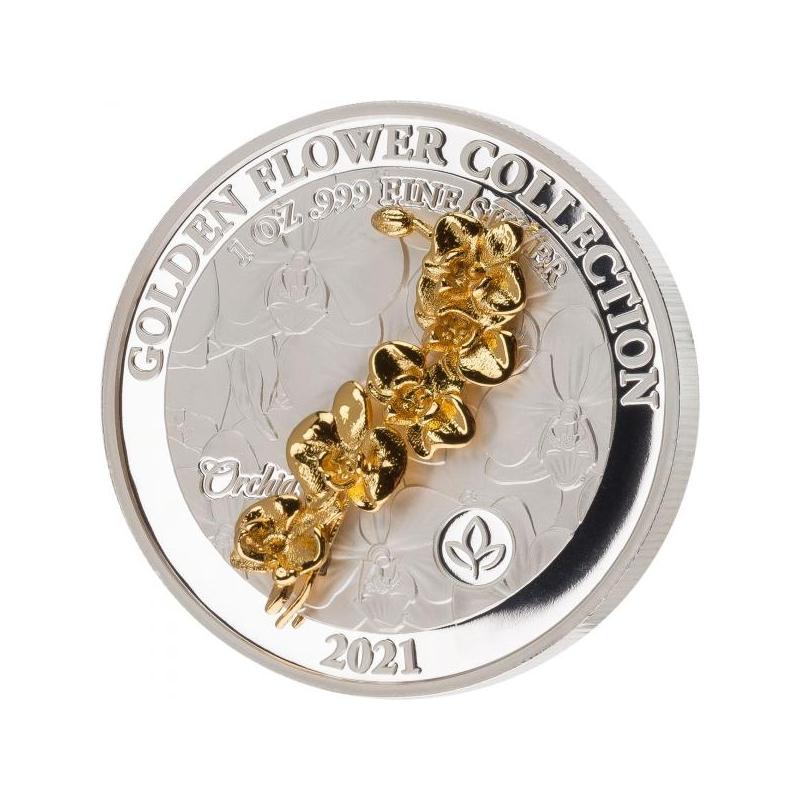Kuldsed 3D lilled -Orhidee. Samoa 5 $ 2021.a 1-untsine  99,9% hõbemünt