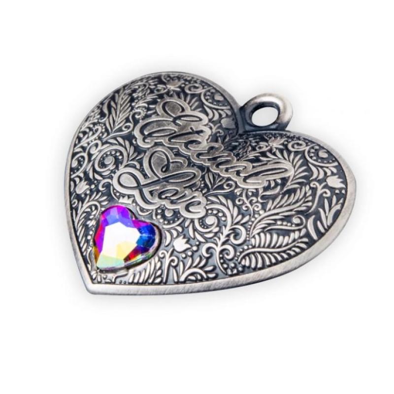 Igavene armastus - Eternal Love - Saalomoni saarte 1$ 99,9% antiikviimistlusega südamekujuline hõbemünt/ripats kristalliga, 15 g