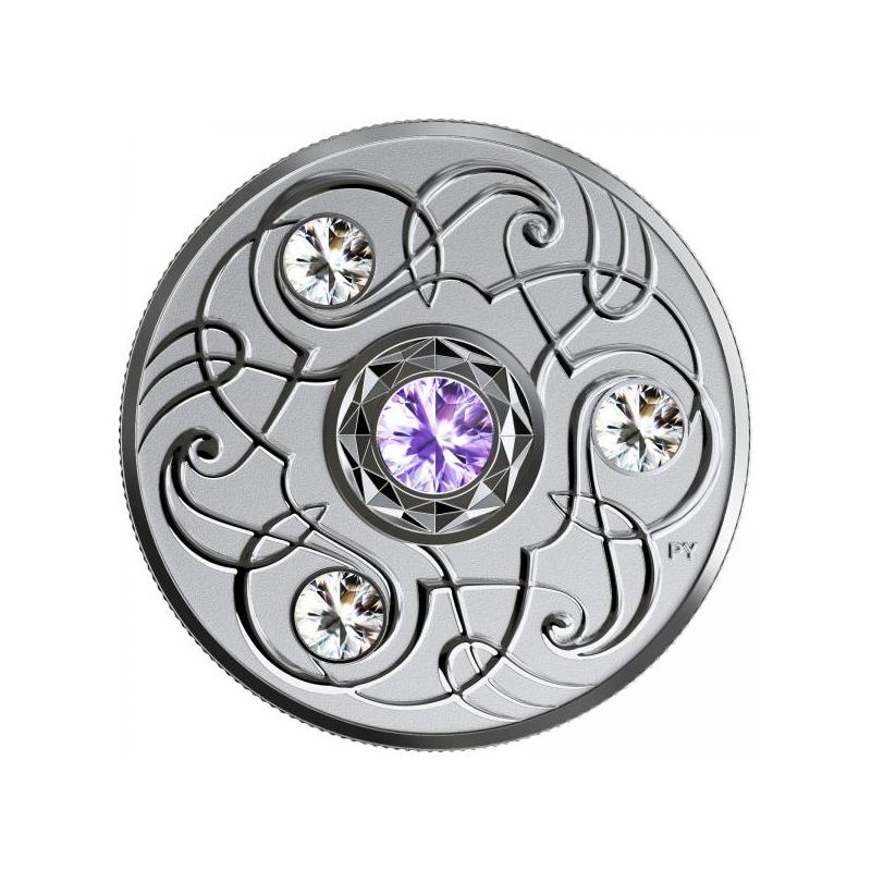 Счастливый камень на декабрские дни рождения. Канада 5$ 2020 г. 99,99% серебряная монета с кристаллами Swarovski® 7, 96 г.