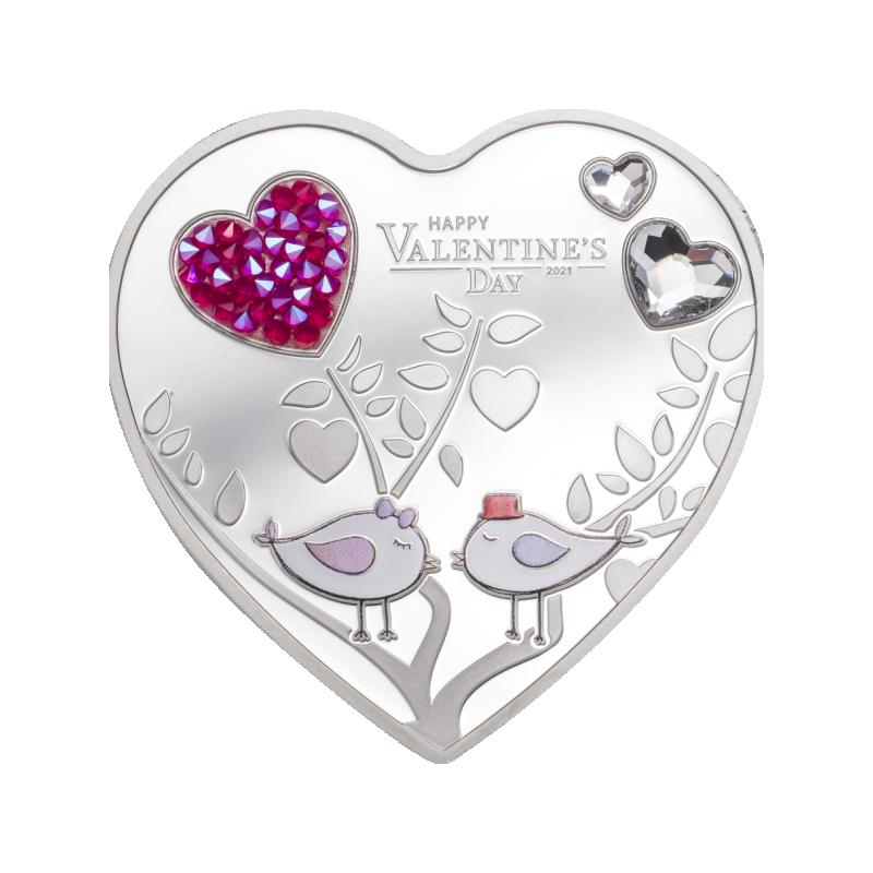 День святого Валентина 2021 - Острова Кука 5$ 2021 г. 99,9% серебряная монета 20 г.