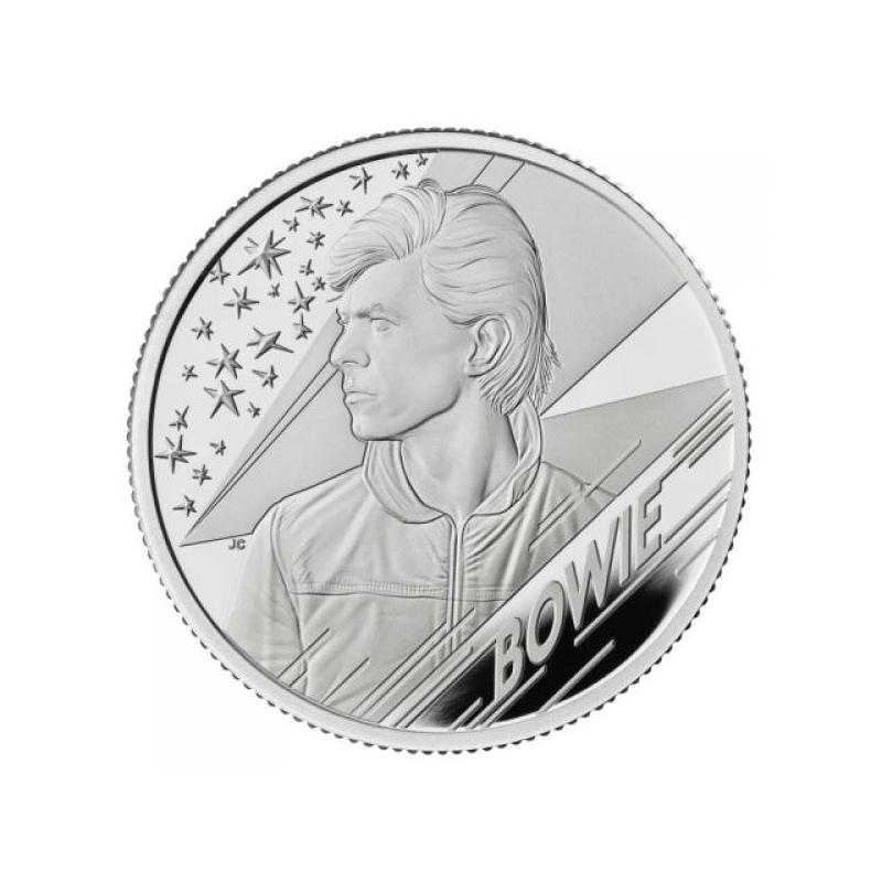 «Легенды музыки» - Дэвид Боуи, Великобритания 1 £ 2020 г 99,9% серебрянная монета 15.710 г.
