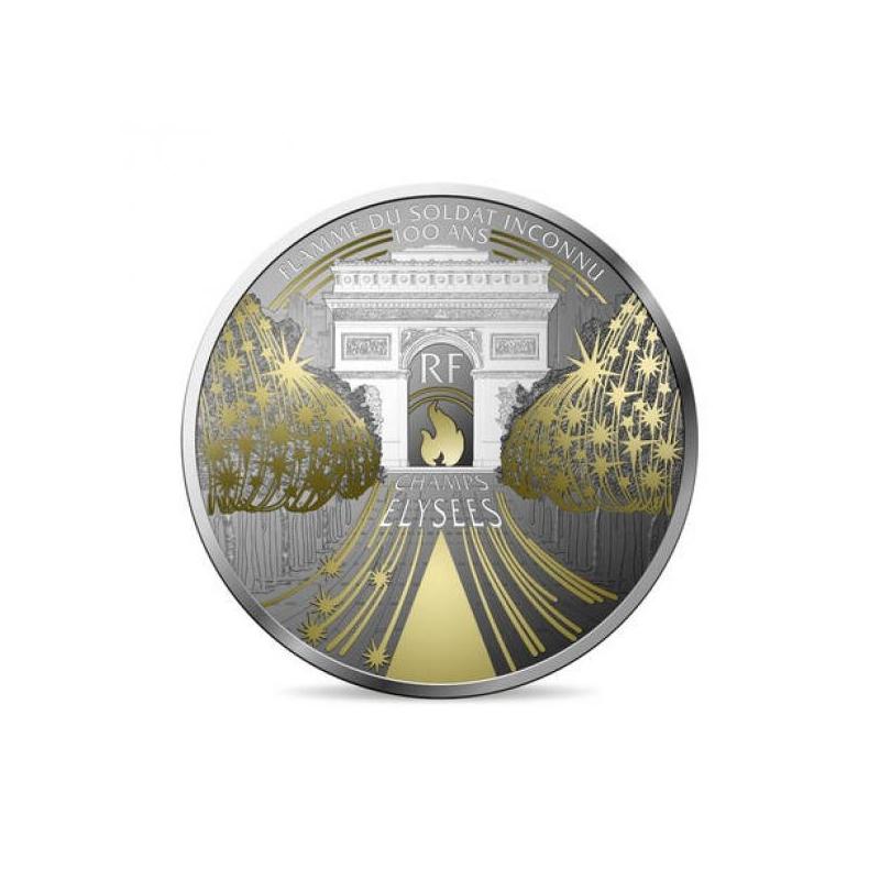 Champs-Élysées.  - Франция 10 € 2020 г. 90% серебряная монета, 22,2 г.