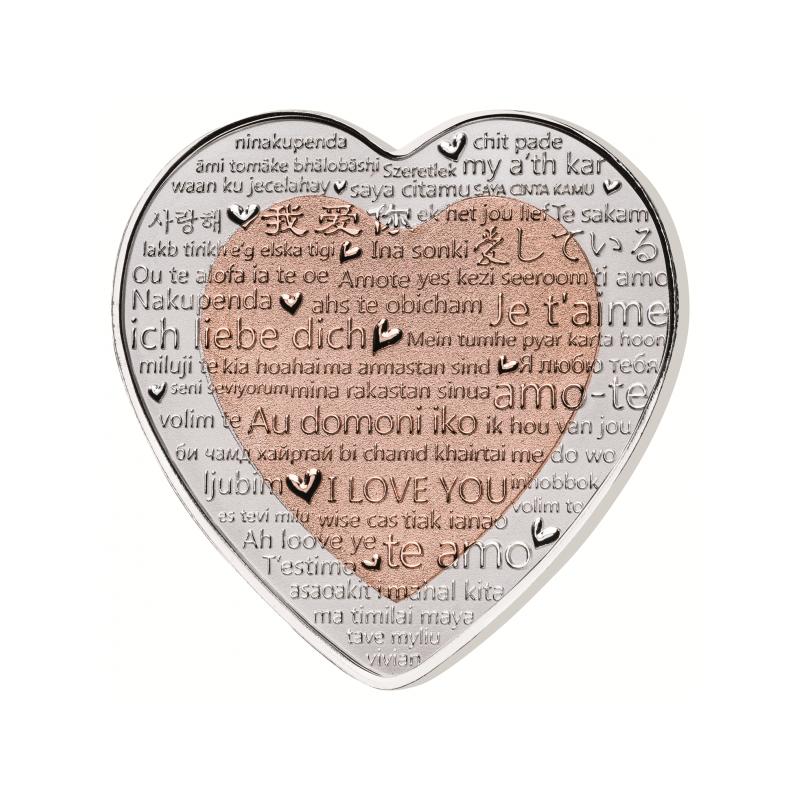 """""""Armastuse tähtpäev"""" - Fiji 1$ 2018.a bi-metallist 99,9% hõbemünt vasest südamekujulise elemendiga, 37.4 g"""