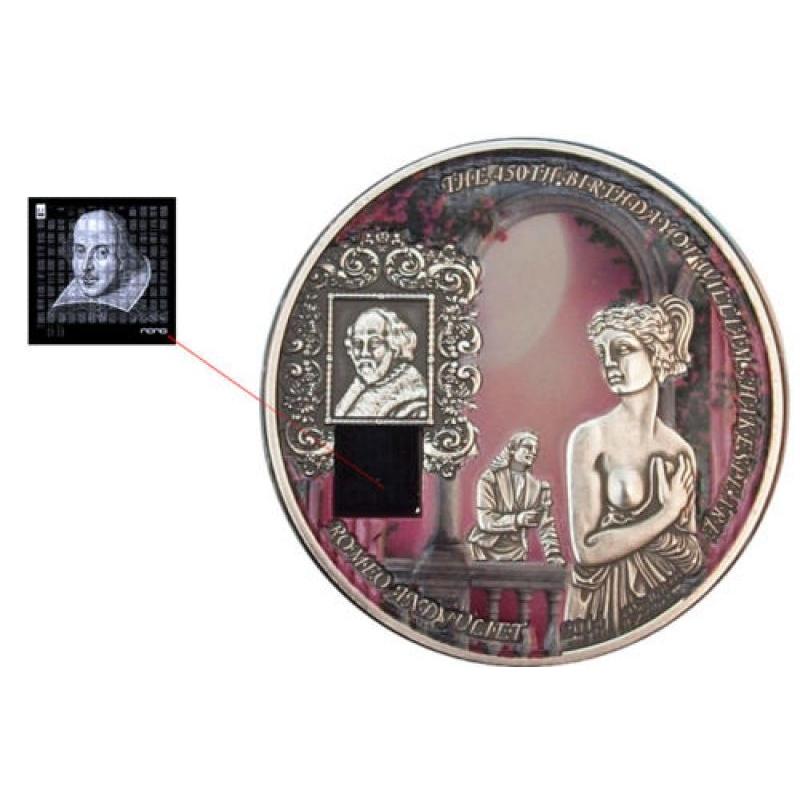 """""""Romeo ja Julia"""" -  Benini 1000 Fr. 2014,a värvitrükis nanokiibiga 1-untsine 99,9% hõbemünt,"""