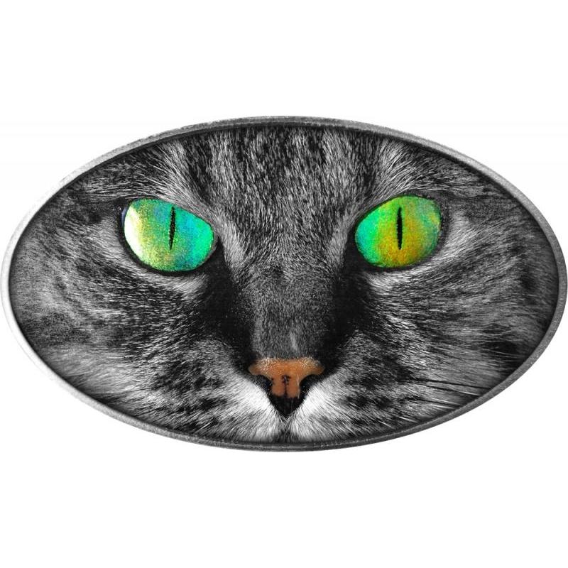 Kitty-Cat - Kassi silmad - Niue Saarte 2$ 2017.a. antiikviimistlusega 1 untsine 99,9%  hõbemünt