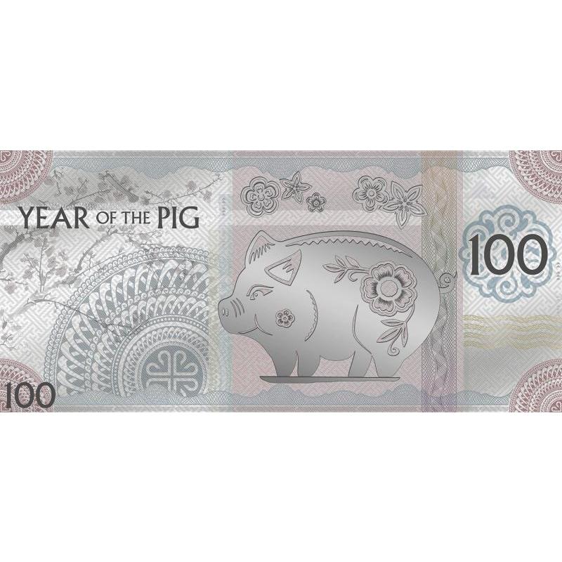 Год Кабана 2019. - Монголия 100 Тугрик,  99,9% серебряная банкнота с цветной печатью, 5 г.