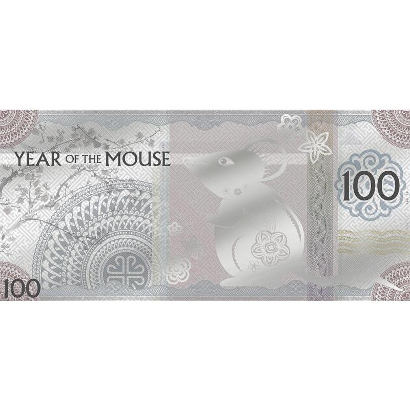 Год Крысы 2020 - Монголия 100 Тугрик,  99,9% серебряная банкнота с цветной печатью, 5 г.