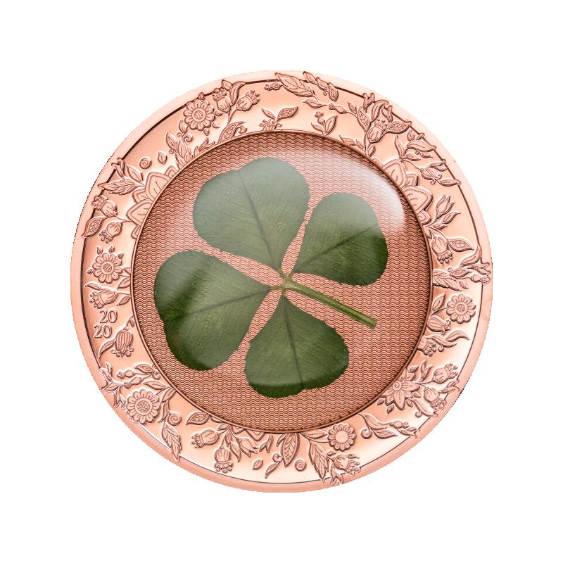 """""""Удачи!"""" - Палау.5$ 2020 г. 93,5% серебряная монета с позолотой и настоящим листом клевера."""
