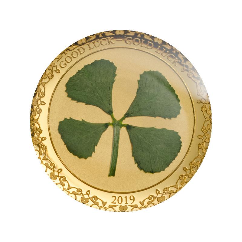 Удачи! -  99,9% золотая монета Палау, 2019 годa, 1 грамма,  с настоящим листом клевера