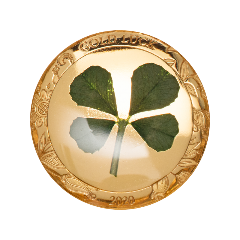 Õnn kaasa! - Good Luck! - Palau 1 $ 2020.a. 1 grammine 99,9% kuldmünt ehtsa ristikheina lehega