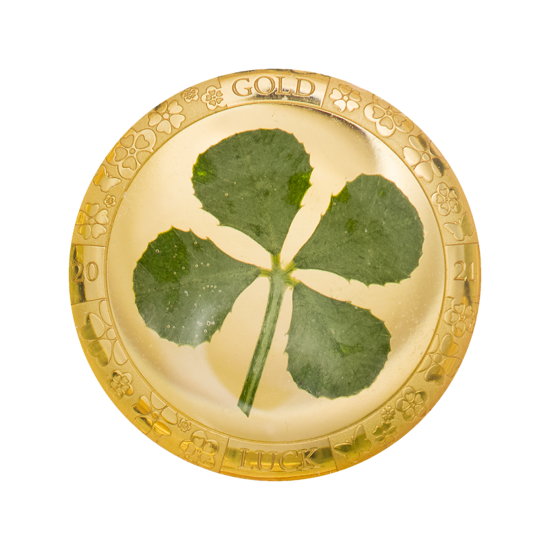 Õnn kaasa! - Good Luck! - Palau 1 $ 2021.a. 1 grammine 99,9% kuldmünt ehtsa ristikheina lehega