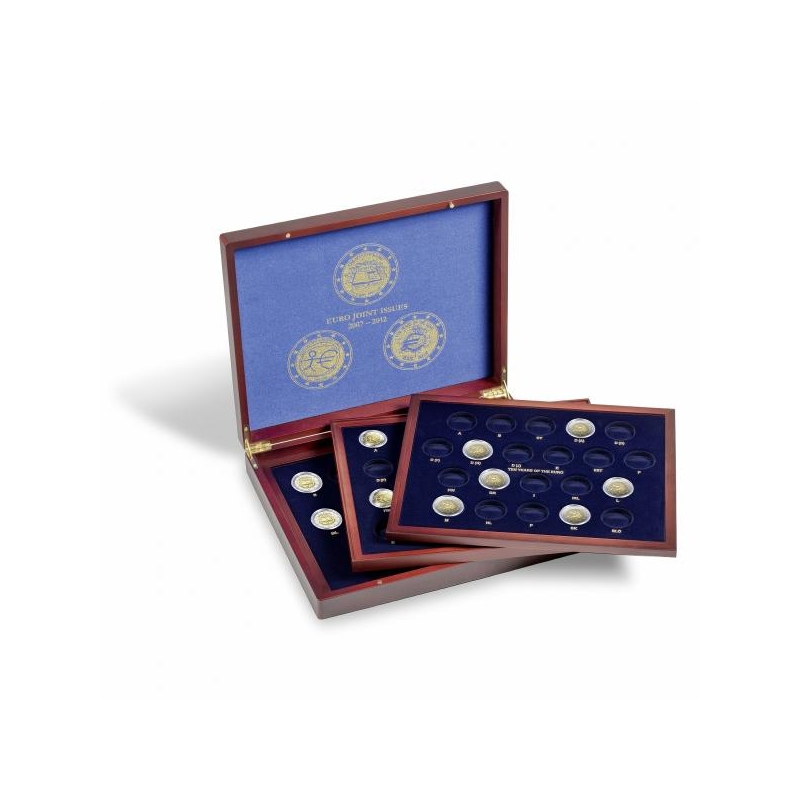 Puiduimitatsiooniga karp VOLTERRA TRIO de LUXE -  kapslis 26 mm müntidele (2€ ühisteemad 2007; 2009; 2012 )