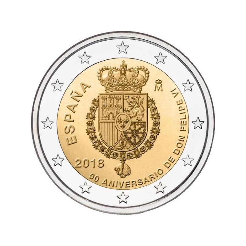 2 € юбилейная монета 2018 г.Испания  - 50 лет со дня рождения короля Филиппа VI