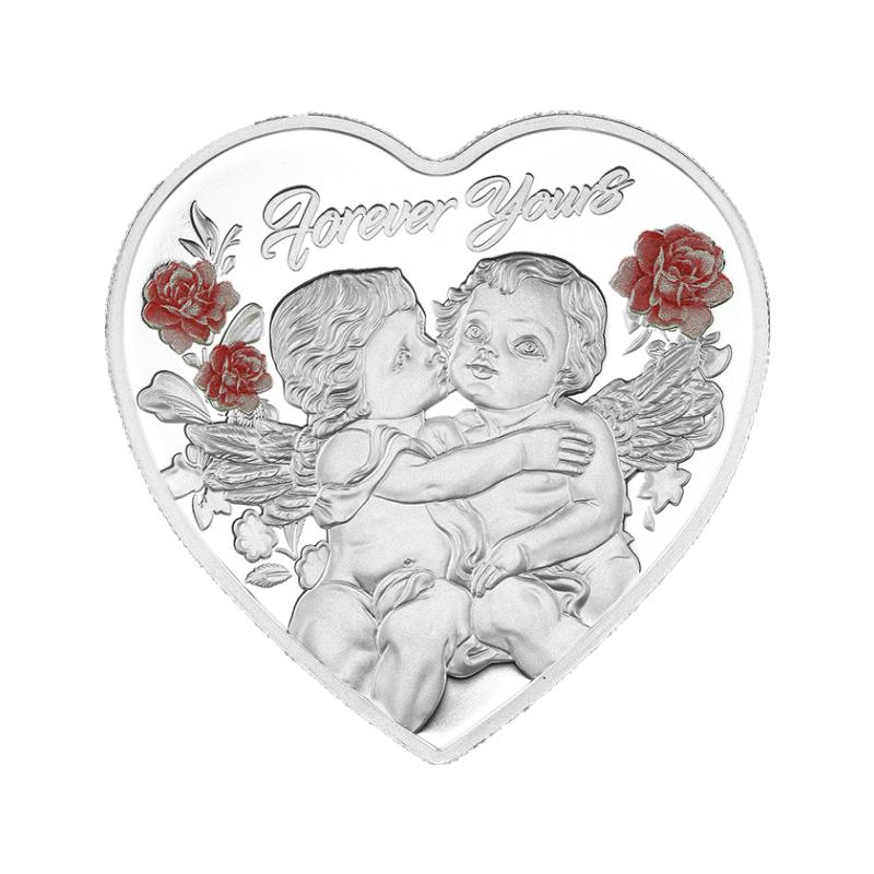 Igavesti  Sinu-  Tokelau 1$ 2019.a. värvitrükis südamekujuline 99.9% hõbemünt, 20g
