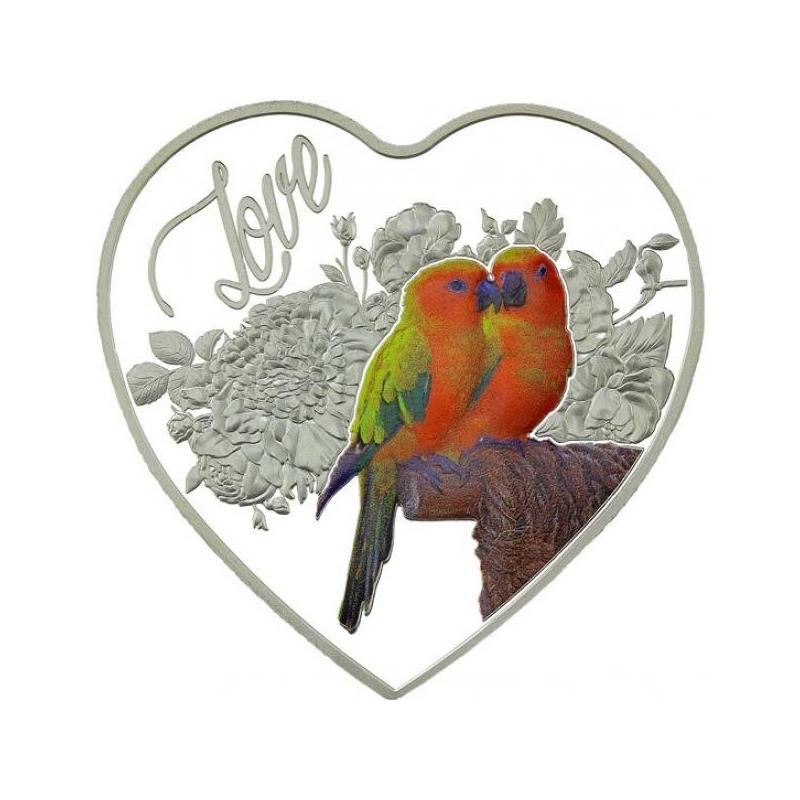 """""""Неразлучники"""" – Токелау 1$ 2018 г 99,9%  серебряная монета в виде сердца c цветной печатью,  20 гp."""