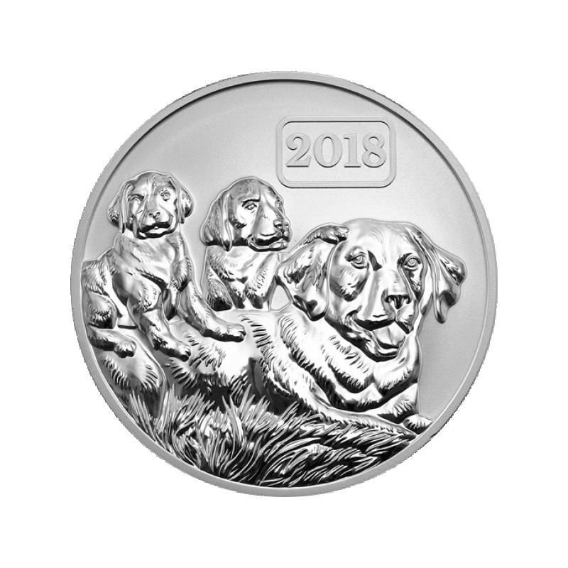 Koera aasta 2018 - Tokelau 5$ pööratud proof kvaliteedis  99,9% hõbemünt , 31,1 g