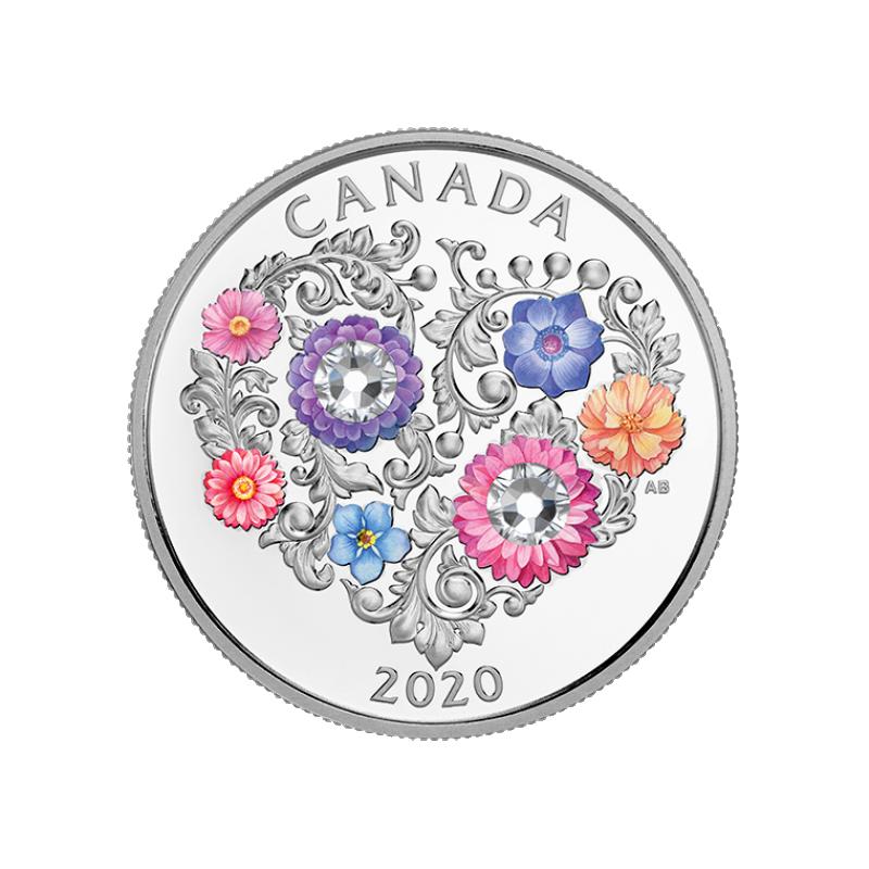 """""""Праздник любви!"""" – Канада 3 $ 2020 г . 99,99% серебряная монета  с цветной печатью и с кристаллом Swarovski® 7.96 гp."""