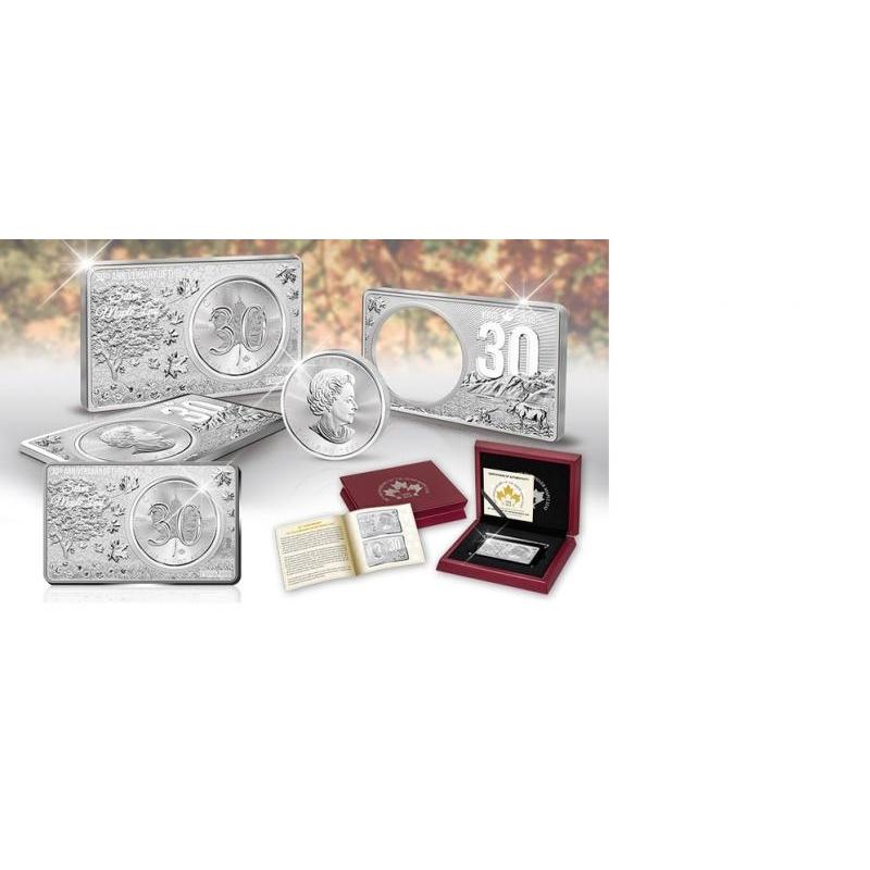«Кленовый лист- монете 30 лет» - 99.99% серебряная монета в слитке Канада 2018 г. - 3 унции