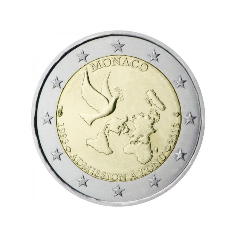 2 € юбилейная монета Монако 2013 г. - 20 лет вступления в ООН