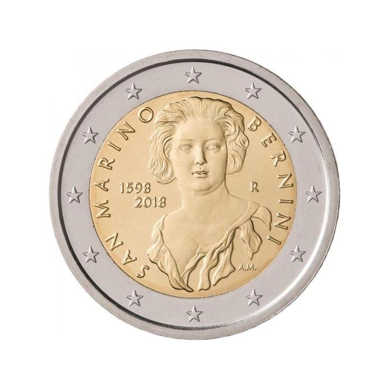 2 € юбилейная монета 2018  г.Сан -Марино - 420 лет со дня рождения Джана Лоренцо Бернини