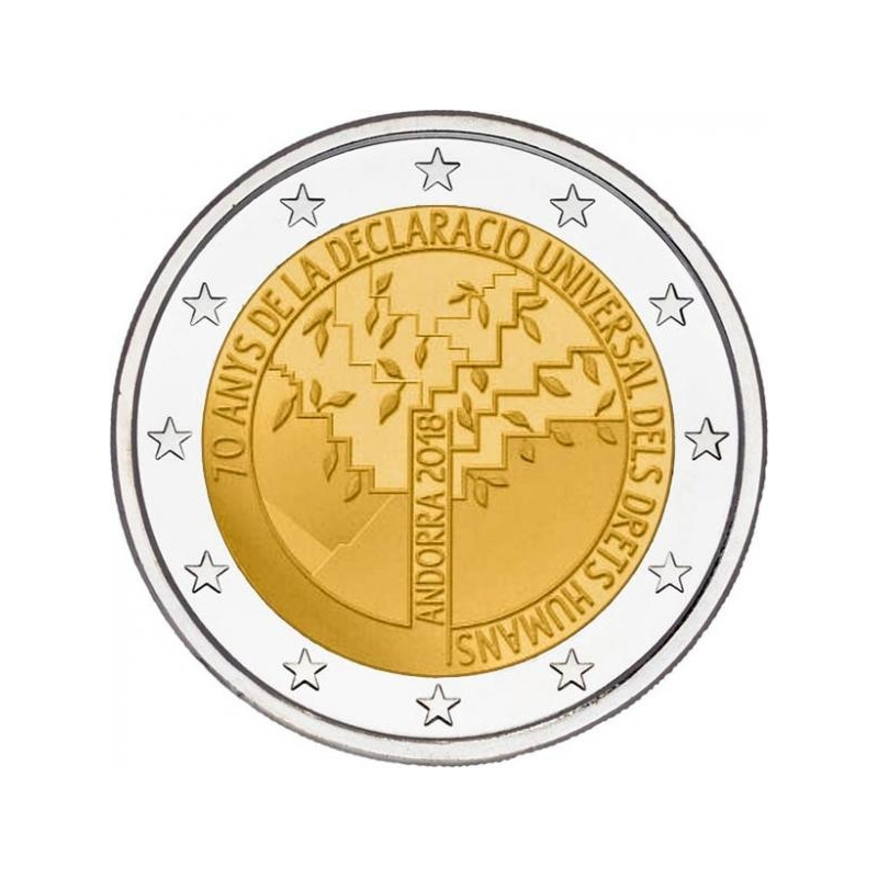 2 € юбилейная монета 2018 г.  Андорра  - 70 лет всеобщей декларации прав человека