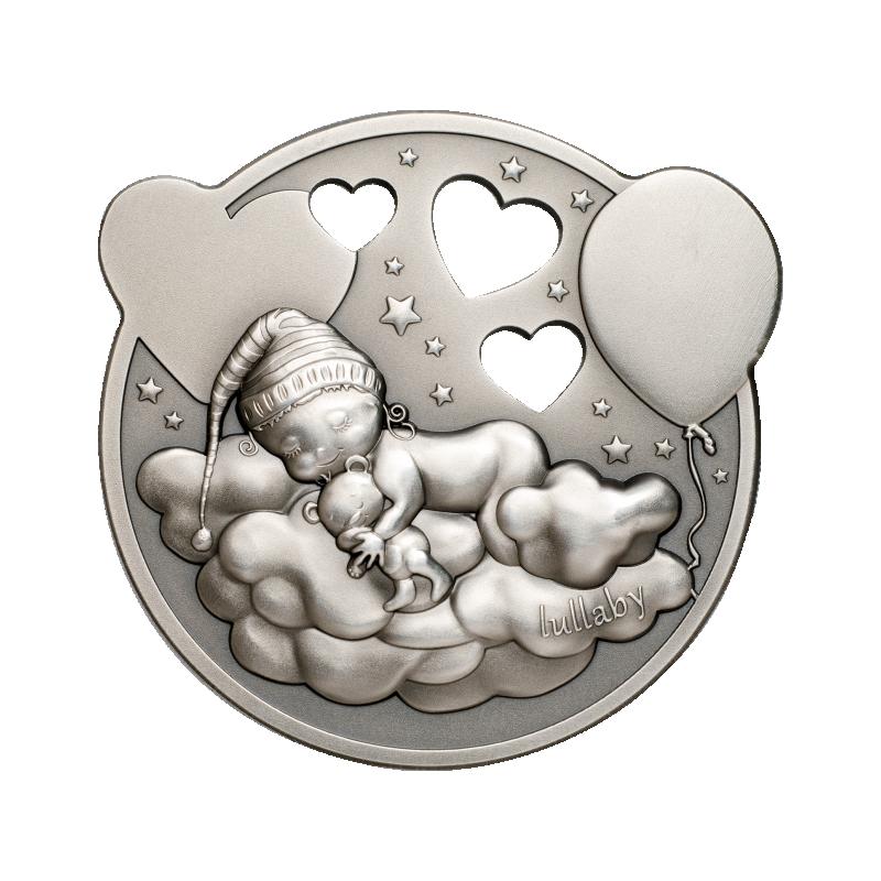 Колыбельная песня - Маленькая принцесса- Острова Кука 5$ 2019 г. 99,9% серебряная монета с антик обработкой в музыкальной шкатулке, 31,1 г.