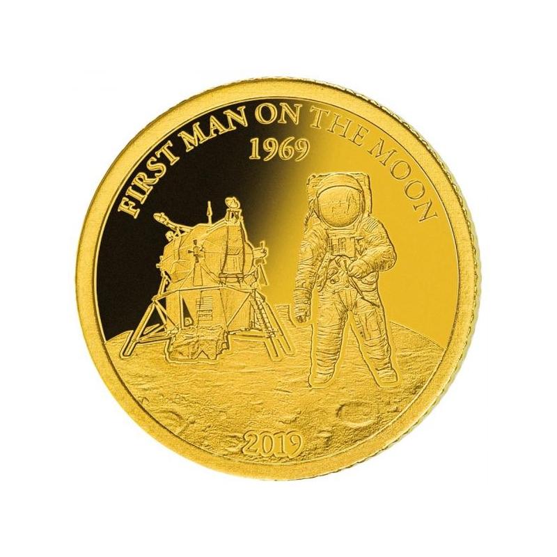 50 лет от первой в мире миссии высадки человека на Луне  - Барбадос 10$ 2019 г. 99,99% золотая монета 0,5 гр