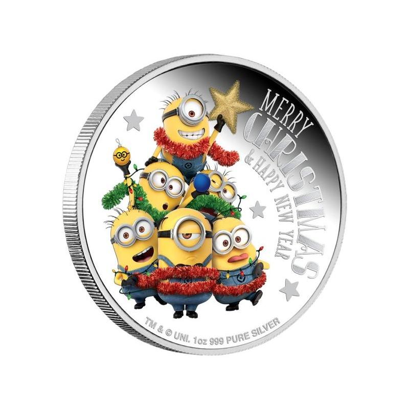 «Миньо́ны» – Острова Ниуэ 2$ 2018 г 99,9%  серебряная монета c цветной печатью,  1 унция.