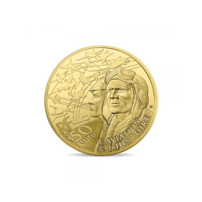 Военно-транспортный самолёт «Трансалл» - Франция 50€ 2018 г. 99,99% золотая монета, 1/4 унции