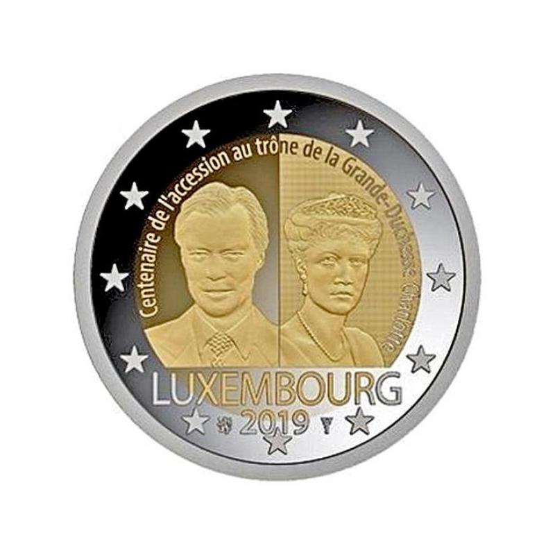 Luksemburgi  2019 a 2€ juubelimünt  - suurhertsoginna Charlotte'i trooniletuleku 100. aastapäev