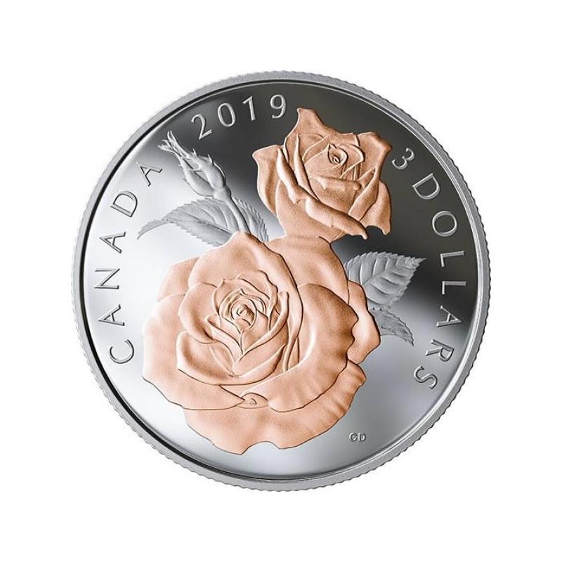 """Роза """"Queen Elizabeth"""" –  99,99%серебряная монета 3 $ Канады 2019 г. с позолотой, 7.96 гp."""